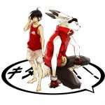 arm_support barefoot black_hair fingerless_gloves furry gloves goggles goggles_on_head grey_eyes hair_over_one_eye headphones ikezawa_kazuma jacket king_kazuma male puffer_jacket red_eyes sekito_yone shorts simple_background sleeveless squatting summer_wars yone_(kaguudou)