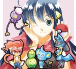 blue_eyes blue_hair budew drifloon hat hikari_(pokemon) holding holding_poke_ball lucario monferno poke_ball pokemon scarf shinx smile