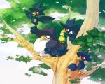 budew emunise honchkrow murkrow nature no_humans pokemon pokemon_(game) pokemon_dppt pokemon_gsc red_eyes tree