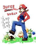 >_< 1girl 1up :o alternate_color alternate_colors brown_eyes brown_hair commentary cosplay fire hands_on_hips hat ice kotone_(pokemon) mario mario_(cosplay) mario_(series) o_o overalls parody pokemon pokemon_(creature) pokemon_(game) pokemon_gsc roselia shiny shiny_pokemon shroomish sparkle stomping super_mario_bros. turtwig twintails weee_(raemz)