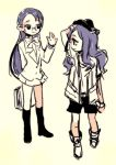 2girls glasses heartcatch_precure! kurumi_momoka long_hair looking_back multiple_girls precure purple_hair simple_background skirt smile tima tsukikage_yuri