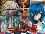 aqua_hair bare_shoulders belt bird_cage blindfold blonde_hair blood blue_eyes blue_hair cage cape checkered checkered_floor choker claws cravat dress flower formal genderswap green_hair hair_bow hair_over_one_eye hair_ribbons hatsune_miku hatsune_mikuo highres injury kagamine_len kagamine_rin kaiko kaito meiko nail_polish navel necktie open_mouth ponytail redhead saiyki short_hair shorts sitting suit tears twintails very_long_hair vocaloid white_dress