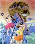 brown_hair catbus clouds ghibli kusakabe_mei kusakabe_satsuki leaves plants sky smile tonari_no_totoro umbrella whiskers