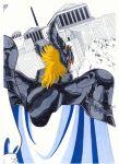1boy armor blonde_hair from_behind greek helmet hypnos_(saint_seiya) male robe saint_seiya