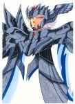 1boy armor male robe saint_seiya simple_background solo thanatos_(saint_seiya)