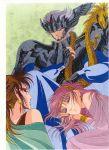 1boy 3girls armor harp saint_seiya sleeping smirk thanatos_(saint_seiya)