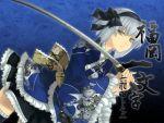 blue gray_hair katana rokuwata_tomoe sword yellow_eyes