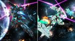 battle earth energy_sword explosion glowing gundam gundam_unicorn henry1025 highres mecha no_humans shield space space_colony sword unicorn_gundam unicorn_gundam_banshee weapon