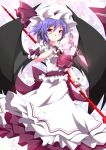 1girl ascot bat_wings blue_hair brooch chain hat hat_ribbon jewelry kurono_yuzuko looking_at_viewer pink_eyes puffy_sleeves remilia_scarlet ribbon sash shirt short_sleeves skirt skirt_set smile solo spear_the_gungnir touhou wings wrist_cuffs