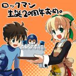 apron blush bow flat_chest food long_hair pastry pesi rockman rockman_(character) rockman_(classic) roll