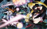 bardiche battle black_legwear boots brown_hair explosion fate_testarossa fingerless_gloves gloves highres jpeg_artifacts long_hair magic mahou_shoujo_lyrical_nanoha mahou_shoujo_lyrical_nanoha_the_movie_1st open_mouth purple_eyes raising_heart red_eyes ribbon takamachi_nanoha thighhighs twintails wallpaper