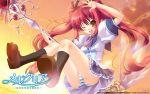 blush mercuria ozawa_akifumi panties seifuku striped_panties takamori_himiko twintails underwear wink
