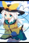 1girl aqua_eyes beni_shake blue_sky bow clouds hat hat_bow heart heart_of_string komeiji_koishi letterboxed long_sleeves looking_at_viewer open_mouth shirt silver_hair skirt sky smile solo third_eye touhou wide_sleeves