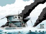 hatsune_miku historical_event kriegsmarine rxjx sinking submarine twintails type_ix vocaloid world_war_ii