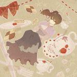 bad_id brown_hair checkerboard_cookie cookie cup flower food ribbon rose side_ponytail sugar_cube tea teacup teapot umineko_no_naku_koro_ni unico ushiromiya_natsuhi yuniko