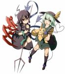 2girls ahoge aqua_hair asymmetrical_wings black_hair blouse clenched_hand dress foreshortening frown green_eyes hat hat_ribbon heart heart_of_string houjuu_nue kneehighs komeiji_koishi legs_up looking_at_viewer multiple_girls open_mouth outstretched_arm pointy_ears polearm red_eyes ribbon short_hair simple_background skirt snake tenkomori_(bug_kura) thigh-highs third_eye touhou trident tsurime weapon white_background wide_sleeves wings