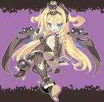1girl arm_support bat black_legwear blade_(galaxist) blonde_hair blue_eyes blush candy character_request crossed_legs demon_girl demon_tail demon_wings detached_sleeves high_heels lollipop long_hair open_mouth pantyhose pointy_ears shoes sitting solo tail twintails wings wrist_cuffs