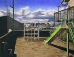 building cityscape clouds dated jungle_gym lamppost no_humans original playground power_lines realistic ryota884 satellite_dish scenery shadow signature sky slide water_fountain