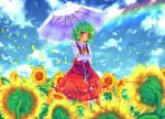 blurry crossed_arms depth_of_field flower flower_field green_hair kazami_yuuka namie-kun petals plaid plaid_skirt plaid_vest rainbow red_eyes skirt skirt_set sky smile sunflower touhou umbrella watermark