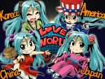 america angelin aqua_hair chibi china china_dress chinese_clothes green_eyes hanbok hat hatsune_miku japan japanese_clothes kimono korea korean_clothes pipe top_hat twintails uncle_sam vocaloid