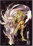 1boy clenched_fist full_armor future_studio golden_armor leo_aiolia male posing poster sacred_saga saint_seiya shining_armor