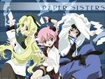 3girls :d androgynous anita_king arms_up beret black_eyes black_hair blonde_hair bun_cover capelet child chinese_clothes double_bun dual_wielding earrings flat_chest flying_paper from_behind green_eyes hat highres ishihama_masashi jacket jewelry jumping long_hair looking_back maggie_mui michelle_cheung multiple_girls official_art open_clothes open_jacket open_mouth paper pink_hair r.o.d_the_tv raglan_sleeves read_or_die sash shoes short_hair shorts skirt smile socks spread_legs thigh_strap tomboy turtleneck vector_trace very_long_hair wallpaper wavy_hair wristband yellow_eyes