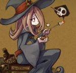1girl book bottle brown_hair hair_over_one_eye hat k6427 little_witch_academia poison red_eyes sitting skull sucy_manbabalan wand wide_sleeves witch_hat