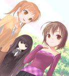 black_eyes black_hair brown_eyes brown_hair long_hair multiple_girls orange_hair sasaki short_hair smile suou_kuyou suzumiya_haruhi_no_yuuutsu tachibana_kyoko tachibana_kyouko twintails uni