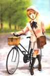 bag beret bicycle blazer blue_eyes bow elpeo_puru gundam gundam_zz hat highres kitazume_hiroyuki kneehighs lips oldschool open_mouth orange_hair outdoors short_hair skirt smile socks zeta_gundam
