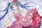 1girl bekkourico blue_eyes blue_hair choker dress dutch_angle flower furudo_erika hair_flower hair_ornament long_hair musical_note petals rose skirt_hold smirk treble_clef twintails umineko_no_naku_koro_ni