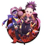 1boy 1girl anzu_(pokemon) ariados black_hair father_and_daughter gym_leader japanese_clothes kyou_(pokemon) morori ninja pokemon pokemon_(creature) pokemon_(game) pokemon_gsc purple_hair scarf toxicroak venonat weezing