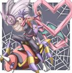 1girl anzu_(pokemon) ariados crobat gym_leader heart japanese_clothes ninja pokemon pokemon_(creature) pokemon_(game) pokemon_gsc puro_tarou purple_hair scarf venomoth