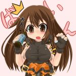 bad_id blush breast_expansion breasts brown_eyes brown_hair buckle buckles fang fingerless_gloves gloves guilty_gear long_hair may may_(guilty_gear) open_mouth ponkotsu potion strap surprised taut_shirt translated wardrobe_malfunction