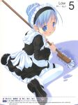 blue_hair cleaning garters hair_bun highres maid moetan mop pastel_ink pop queen's_gate queen's_blade queen's_gate sitting thighhighs tongue wariza water