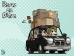 :d bag black_hair blonde_hair blue_eyes book box car cardboard_box chibi driving glasses left-hand_drive long_hair michelle_cheung motor_vehicle multiple_girls nagian open_mouth polka_dot r.o.d_the_tv read_or_die reading smile spill vehicle wallpaper wavy_hair yellow_eyes yomiko_readman
