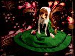 brown_hair doll dress heterochromia long_hair photo realistic rozen_maiden suiseiseki wallpaper