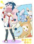 3girls akane_(pokemon) blue_eyes blue_hair bow brown_eyes brown_hair gym_leader hirako ibuki_(pokemon) kingdra mikan_(pokemon) miltank multiple_girls pink_eyes pink_hair pokemon pokemon_(creature) pokemon_(game) pokemon_gsc steelix thighhighs title_drop twintails