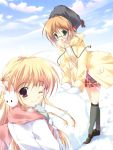 brown_hair gloves green_eyes highres kneehighs long_hair megane mikeou pink_chuchu red_eyes scarf short_hair sky snow socks