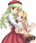 bettou_izumi-shizuka_scarlett blonde_hair dancing dress green_hair hat highres long_hair scarlett short_hair skirt watch wristwatch