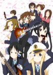 akiyama_mio bass_guitar black_eyes black_hair blazer blonde_hair blue_eyes blush bread brown_eyes brown_hair closed_eyes doughnut drumsticks eating eunos everyone food glasses guitar hair_ornament hairband hairclip hat highres hirasawa_ui hirasawa_yui instrument k-on! kotobuki_tsumugi long_hair manabe_nodoka multiple_girls nakano_azusa pantyhose peaked_cap ponytail sailor_hat school_uniform short_hair skirt smile suzuki_jun tainaka_ritsu twintails yamanaka_sawako