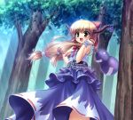 blonde_hair bow chain fang forest gourd hair_bow hand_on_hip holding horns ibuki_suika long_hair nature open_mouth smile solo sunbeam sunlight takeponi touhou wrist_cuffs yellow_eyes