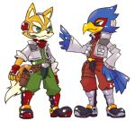 animal_ears bird blue_eyes falco_lombardi falcon feathers fox fox_ears fox_mccloud fox_tail furry green_eyes headset multiple_boys nintendo scarf smile star_fox tail uniform