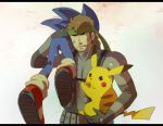brown_hair caloriemate carrying eating gloves headband letterboxed metal_gear_solid nintendo pikachu pokemon solid_snake sonic sonic_the_hedgehog super_smash_bros.