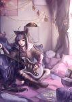 1girl :q absurdres ahoge animal_ears animal_print bangs bed black_hair black_legwear blue_hair box cat_ears cat_print cat_tail chips danganronpa_(series) danganronpa_2:_goodbye_despair ear_piercing electric_guitar english_commentary food guitar hair_horns highres instrument long_hair long_sleeves mary_(dragonmary99) mioda_ibuki mismatched_legwear multicolored_hair on_bed piercing pillow pink_eyes pink_hair school_uniform serafuku short_over_long_sleeves short_sleeves signature sitting sitting_on_bed skirt solo tail thigh-highs tongue tongue_out torn_clothes torn_legwear white_hair