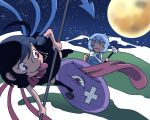 >:( 2girls bandages black_hair blue_hair houjuu_nue karakasa_obake moon multiple_girls onikobe_rin red_eyes short_hair skirt tatara_kogasa tongue touhou umbrella