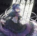 chito04 corset dress expressionless frills gothic_lolita hairband highres lolita_fashion long_hair original red_eyes silver_hair solo sunlight very_long_hair window