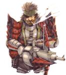 big_boss cigar epic eyepatch grin hirokazu metal_gear_solid metal_gear_solid_peace_walker monster_hunter naked_snake parody rathalos_(armor) smile weapon