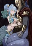 1boy 1girl armor bangs bare_shoulders blue_hair bracer breastplate breasts cape hair_between_eyes hair_tubes helm helmet highres jewelry lamia long_hair looking_at_another medium_breasts medusa_(monster_girl_encyclopedia) monster_girl monster_girl_encyclopedia navel neck_ring parted_lips pointy_ears red_cape smile snake_hair tail tail_wrap twintails waist_cape yellow_eyes zakirsiz