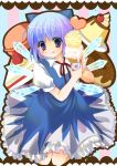 1girl absurdres blue_eyes blue_hair blush cake candy cherry cirno cookie food fruit highres ice_cream macaron nojima_noko pastry pudding short_hair solo touhou wings ⑨