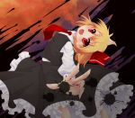 1girl blonde_hair dress_shirt fangs hair_ribbon highres necktie open_mouth red_eyes ribbon rumia shirt short_hair skirt solo touhou vest yami_nabe yaminabe